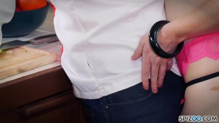 Jessicas Ryan gets a nice fuck by her Chef in the kitchen Outdoor sucking