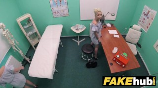 Fake Hospital Horny doctor gets to fuck a freshly shaven petite teen pussy Teen girl