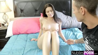 Preview 4 of NubilesPorn - Busty Brunette Fucked BFFs Brother