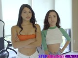 Making My Teen Step Sisters Cum Together - Part 2