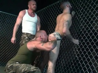 Preview 1 of Gaytanamo - Hairy muscle bareback prison threesome