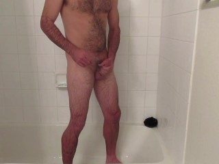 Biff jerks off in the shower, cumshot guaranteed.