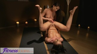 Fitness Rooms Big natural tits girls lesbian fuck after yoga meditation