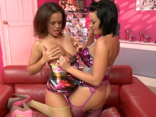 BUSTY TEEN LESBOS LICK PUSSY AND PLAY WITH TOYS main image