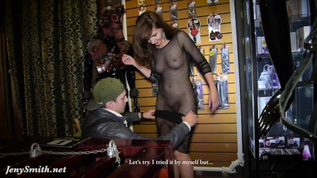 See through panties sluts Jeny shows her see through dress to a stranger