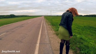 Jeny Smith public nudity on the road  big ass no panties outside redhead nylon public nude in public kink butt stockings up skirt nudity flasher jenysmith exhibitionist bubble