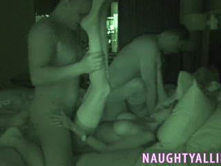 FOURSOME CAPTURED ON NIGHT VISION CAM