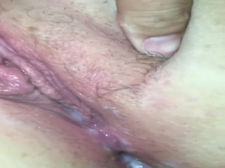My wife's red freshly fucked pussy dripping cum