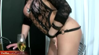 Chubby shebabe in black lingerie shows giant butt and boobs Big lingerie