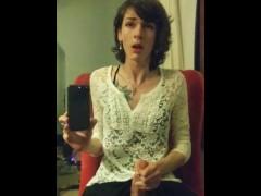 Teen Virgin Rose Marie pre-ejaculates while stroking her big dick