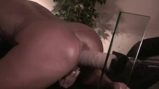 AMATEUR WIFE RIDES HUGE VIBRATING DILDO HARD CUM SHOT