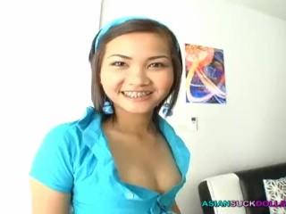 Teener Thai girl with braces lets stranger danger shove cock in her mouth