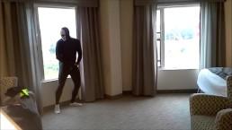 masked socked morph jerking off in hotel room windows