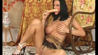 brunette mom with huge natural boobs masturbating pussy and sucking dildo