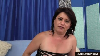 Older woman Jenna Jingles strips down and fucks Pigtails on