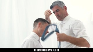 mormonboyz - Handsome cult leader fucks quiet submissive boy Bareback sucking