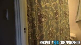 PropertySex - Intruder busted by homeowner taking shower Milf fake