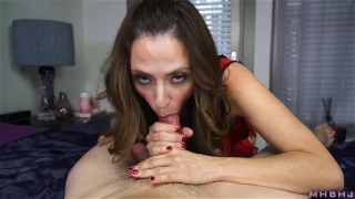 Hard milf insatiable cock inhales mark cum