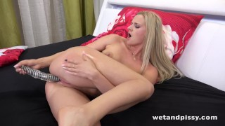 Wetandpissy Dildo play for piss soaked blonde babe Katy Sky