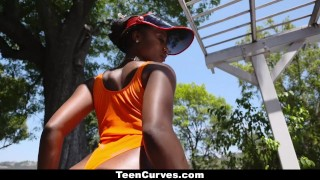 TeenCurves - Juicy Booty Ebony Bounces On White Cock Boobs movie