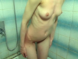 Hot Blond in the Bathroom Shows Boobs Ass and Pussy on Camera