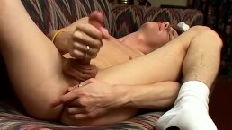 Horny skinny twink Ayden jerking off his big fat dick