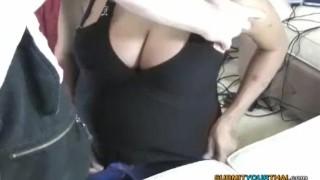 Thai her titty large on big raging girl knees boyfriend's sucks boner pattaya thai