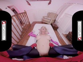 VRCosplayX.com Spider Gwen Blowing Your Mind With Her Mouth And Pussy