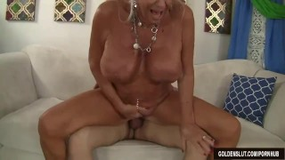 Granny Mandy McGraw seduces boy Tits boobs