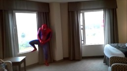 spiderman jerking off at hotel window