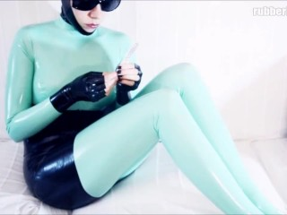 Weekend activity in jade catsuit and black latex accessories