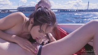 Lesbian teens licking and sucking each others on a yacht