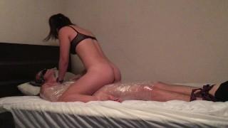 In blowjob teasing wrap plastic of cumshot