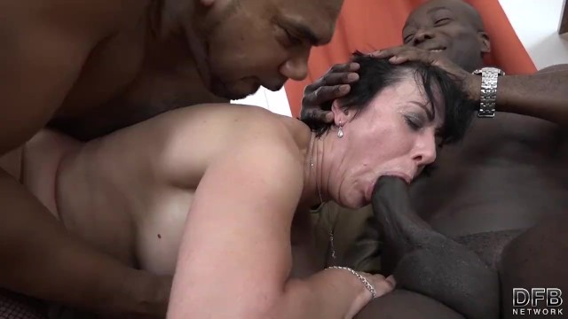 Mature penis penetration pic - Granny threesomes with 2 black men shoving cocks in her mouth and pussy