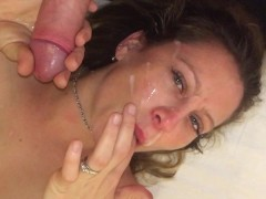 Hotel room gagging blowjob w/facial finish