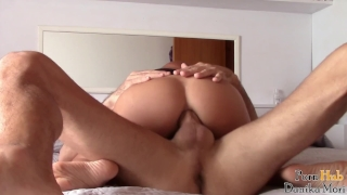 POV- Young girl ride and get creampied in her bedroom Sarah strapon