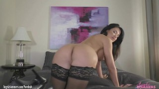 Preview 5 of Hot Busty Babe Riding a Dildo POV - Angela Sommers
