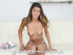 MY VERY FIRST TIME Latina Sophia Leone first threesome fuck and facial