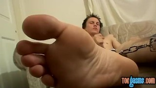 Smokey puts handcuffs on his feet while making himself cum