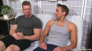 Ryan Sparks has his feet worshipped by AJ for the first time Tits petite