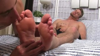 Ryan Sparks has his feet worshipped by AJ for the first time Barebacking tugging