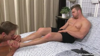 Ryan Sparks has his feet worshipped by AJ for the first time Dick jerking