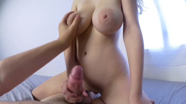 Busty teen rides a huge cock