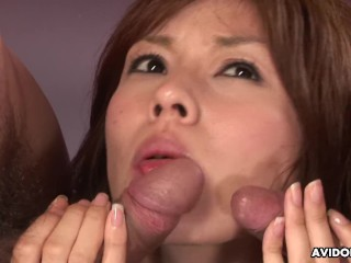 Busty Asian cocksucker receives a threesome pussy licking and fucking