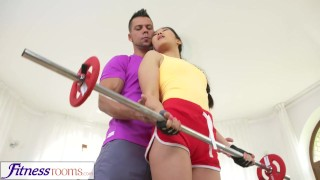 Fitness Rooms Hardcore gym fucking and facial for cute Asian babe Face rosi