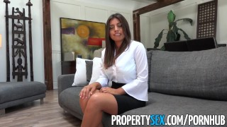 PropertySex - Potential client impressed by big natural tits Teen stepsister