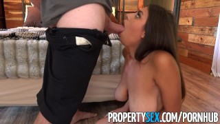 PropertySex - Potential client impressed by big natural tits Husband sucking