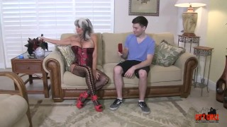 Hot Cougar Stepmom Fucks Her Young Son Up tied