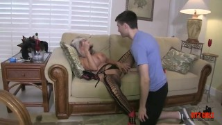 Cougar stepmom hot fucks son her young tits lingerie