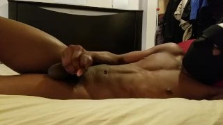 Edging my long cock ending with a yank to a satisfying cumshot